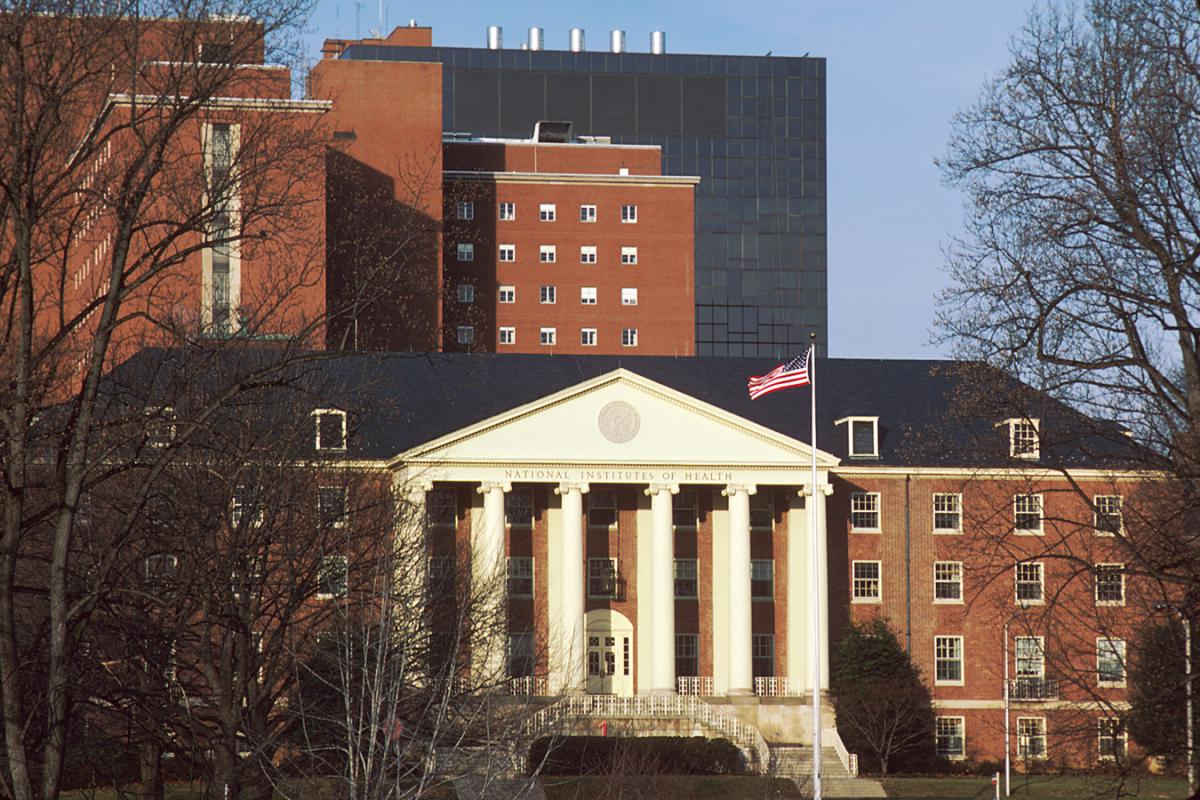The front of NIH Building 1, where OAR's first office was housed in 1988. The NIH Clinical Center, where HIV research is conducted, is seen in the background.